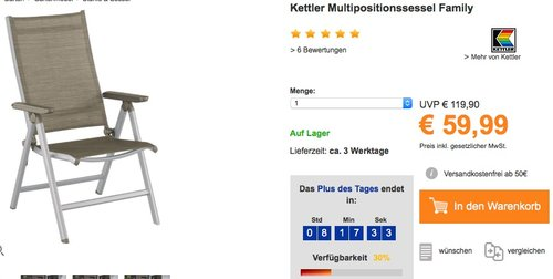Kettler Multipositionssessel Family - jetzt 33% billiger