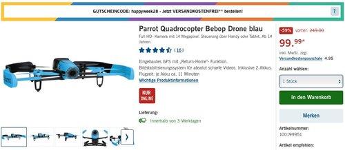 Parrot Bebop Drohne blau - jetzt 27% billiger