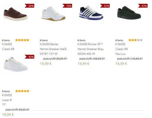 19,99 für auf augewählte  K-Swiss Sneacker (Restgrößen) bei outlet46.de - jetzt 62% billiger
