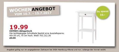 IKEA  HEMNES Ablagetisch, 46x35 cm, 70 cm hoch, weiß gebeizt - jetzt 33% billiger
