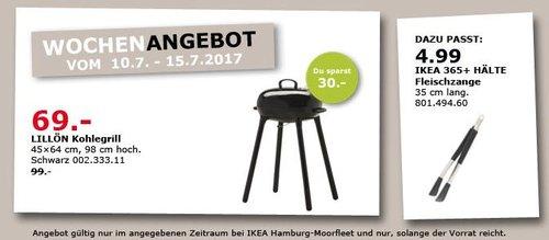 IKEA  LILLÖN Kohlegrill, 45x64 cm, 98 cm hoch, schwarz - jetzt 30% billiger