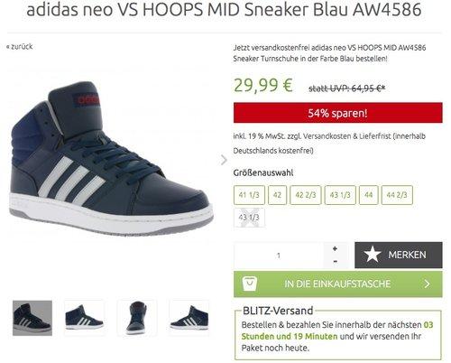adidas neo VS HOOPS MID Sneaker Blau - jetzt 34% billiger