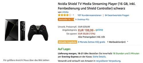 Nvidia Shield TV Media Streaming Player (16 GB, inkl. Fernbedienung und Shield Controller) schwarz - jetzt 15% billiger