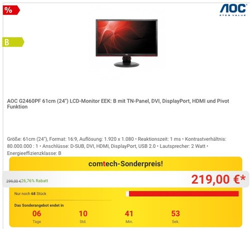 """AOC G2460PF 61cm (24"""") Monitor - jetzt 11% billiger"""