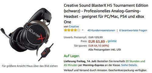 Creative Sound BlasterX H5 Tournament Edition (schwarz) - Professionelles Analog-Gaming-Headset - jetzt 14% billiger