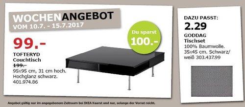 IKEA  TOFTERYD Couchtisch, 95x95 cm, 31 cm hoch, Hochglanz schwarz - jetzt 50% billiger