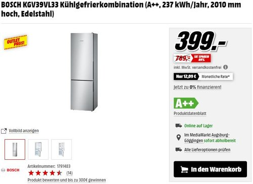BOSCH KGV39VL33 Kühlgefrierkombination - jetzt 15% billiger