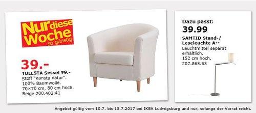 IKEA  TULLSTA Sessel, 70x70 cm, 80 cm hoch, Ransta natur - jetzt 51% billiger