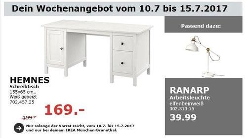 IKEA  HEMNES Schreibtisch, 155x65 cm, weiß gebeizt - jetzt 15% billiger