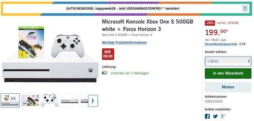 Xbox One S 500GB + Forza Horizon 3 - jetzt 15% billiger
