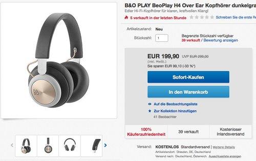 B&O PLAY BeoPlay H4 Over Ear Bluetooth-Kopfhörer - jetzt 31% billiger