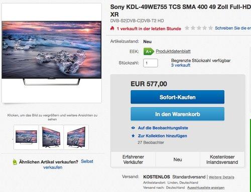 Sony KDL-49WE755 49 Zoll LED-Fernseher - jetzt 12% billiger