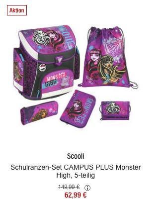 Scooli Schulranzen-Set CAMPUS PLUS Monster High, 5-teilig - jetzt 35% billiger