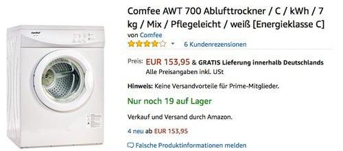 Comfee AWT 700 Ablufttrockner - jetzt 33% billiger