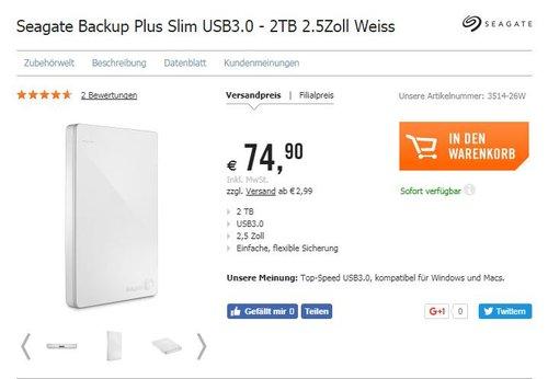 Seagate Backup Plus Slim USB3.0 - 2TB 2.5Zoll Weiss - jetzt 18% billiger