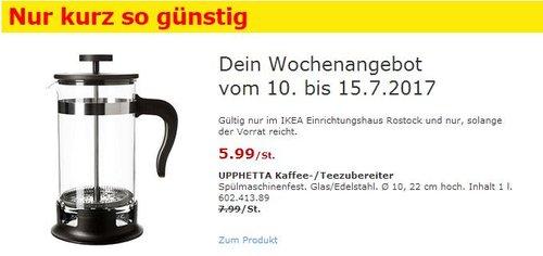 IKEA  UPPHETTA Kaffee-/Teezubereiter, 1 L, Glas, Edelstahl - jetzt 25% billiger