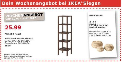 IKEA  MOLGER Regal, 37x37 cm, 140cm hoch, dunkelbraun - jetzt 28% billiger