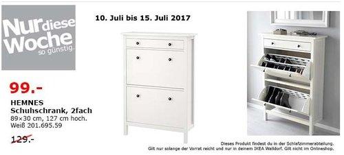 IKEA  HEMNES Schuhschrank, 2fach, 89x30 cm, 127 cm hoch, weiß - jetzt 23% billiger