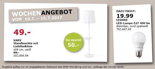 IKEA  VARV Standleuchte mit Ladefunktion, 169 cm hoch, weiß - jetzt 51% billiger
