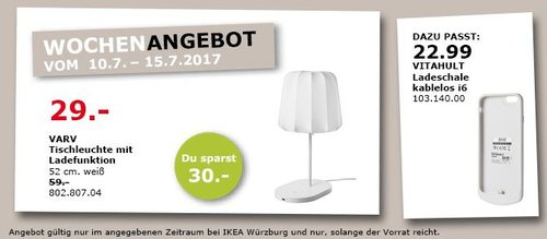 IKEA  VARV Tischleuchte mit Ladefunktion, 52 cm hoch, weiß - jetzt 51% billiger