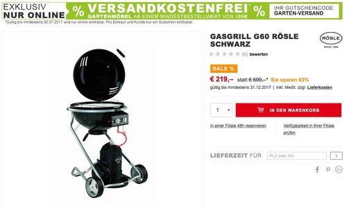 Rösle 25010 Gas-Kugelgrill Rösle No.1 G60, schwarz - jetzt 21% billiger