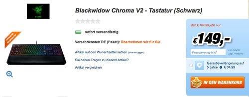 Razer BlackWidow Chroma V2 - Mechanische Gaming Tastatur - jetzt 12% billiger