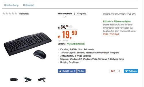 Logitech Wireless Combo MK330 - schnurlose Tastatur und Computermaus - jetzt 19% billiger