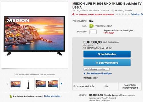 MEDION LIFE P18093 (48 Zoll UHD) LED Backlight-TV - jetzt 24% billiger