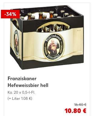 Franziskaner Hefeweissbier hell Ka. 20 x 0,5-l-Fl. - jetzt 34% billiger