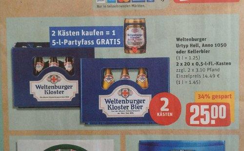 2 Kästen von Weltenburger Kloster plus 5-L-Partyfass Gratis - jetzt 25% billiger