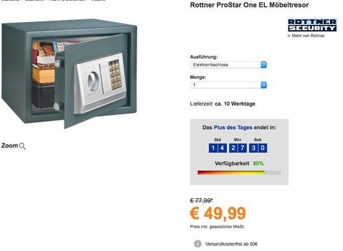 Rottner Pro Star One Electronic Möbel Safe - jetzt 33% billiger
