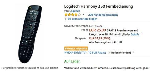 Logitech Harmony 350 Fernbedienung - jetzt 27% billiger