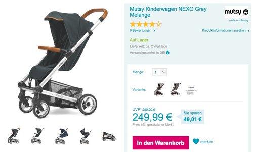 Mutsy Kinderwagen NEXO Grey Melange - jetzt 10% billiger