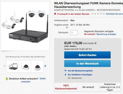 InkoVideo Komplettset WLAN Set / 4 Kanal Netzwerkrekorder mit 4 x HD Überwachungskamera - jetzt 30% billiger