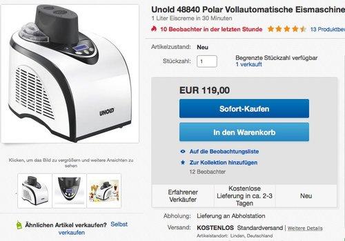 Eismaschine Unold 48840 Polar - jetzt 17% billiger