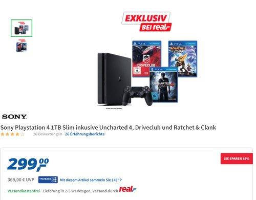PlayStation 4 - Konsole (1TB, schwarz,slim) inkl. Watchdogs + Watchdogs2 - jetzt 11% billiger