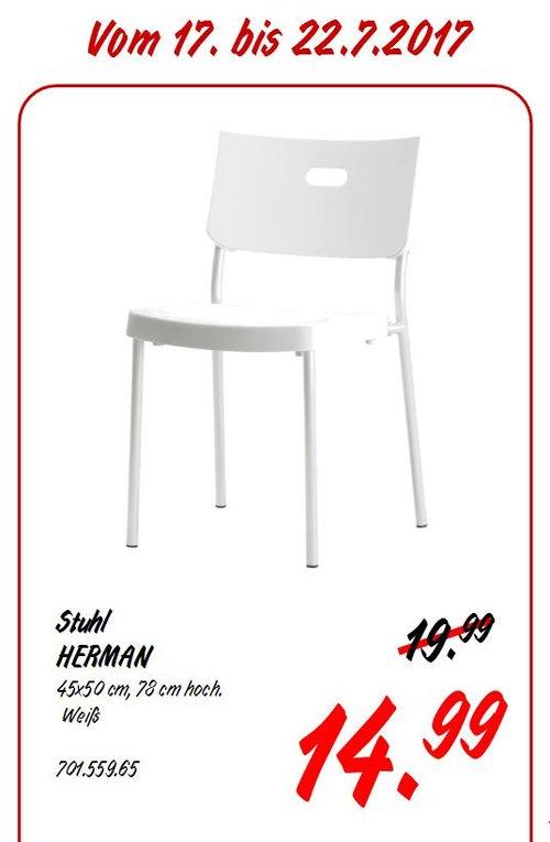 IKEA HERMAN Stuhl, 45x50 cm, 78 cm hoch, weiß - jetzt 25% billiger