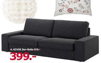 IKEA  KIVIK 3er-Sofa, 228x95 cm, 83 cm hoch, Hillared anthrazit - jetzt 20% billiger