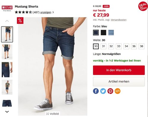 Mustang Shorts - jetzt 54% billiger