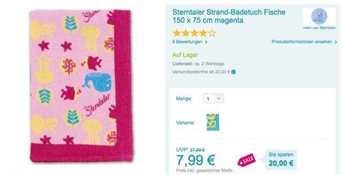 STERNTALER Strandtuch Duschtuch - jetzt 35% billiger