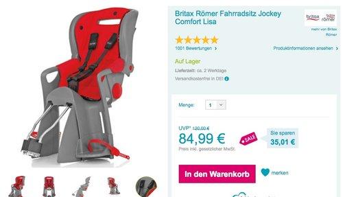Britax Römer Fahrradsitz Jockey Comfort Lisa - jetzt 15% billiger