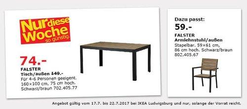 IKEA FALSTER Tisch/außen, 160x100 cm, 75 cm hoch, schwarz/braun - jetzt 50% billiger