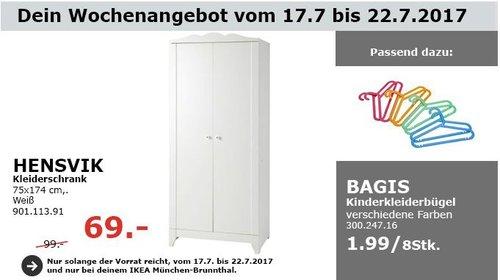 IKEA HENSVIK Kleiderschrank, 75x174 cm, weiß - jetzt 30% billiger