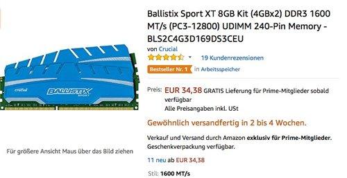 Ballistix Sport XT 8GB Kit (4GBx2) DDR3 1600 MT/s (PC3-12800) Arbeitsspeicher - jetzt 55% billiger