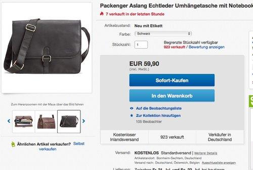 Packenger Aslang Echtleder Umhängetasche schwarz - jetzt 50% billiger