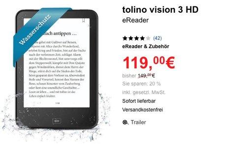tolino Vision 3 HD eBook reader - jetzt 12% billiger