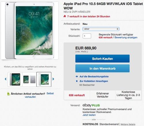 Apple iPad Pro 10,5 Zoll 64GB WiFi 2017 - jetzt 2% billiger