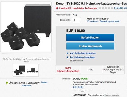 Denon SYS2020 5.1 Lautspechersystem - jetzt 35% billiger