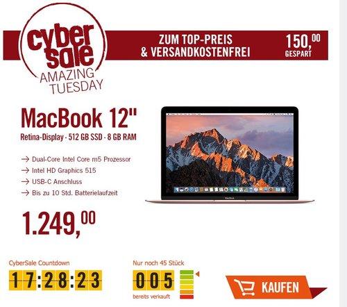 "Apple MacBook 12"", Intel m5 1,2 GHz, 512 GB SSD, 8 GB RAM, roségold - jetzt 11% billiger"
