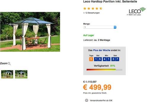 Leco Hardtop Pavillon inkl. Seitenteile, BXT: 300 x 300 cm - jetzt 25% billiger